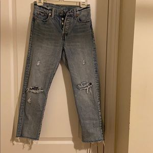 Levi's Wedgie Straight Distressed Denim